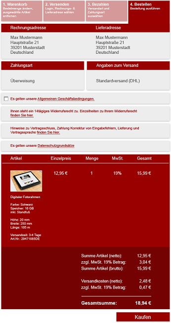 Esempio di pulsante di acquisto rce conforme alla normativa e-commerce in Germania